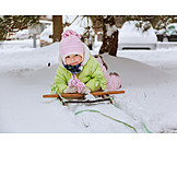 Toddler, Child, Winter, Sleigh