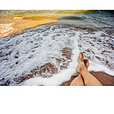 Feet, Surf, Beach Holiday