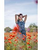 Woman, Poppy fields
