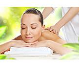 Frau, Wellness, Genießen, Massage