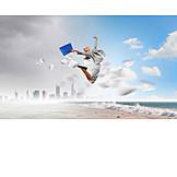 Business Woman, Happy, Releasing, Jump Joy, Short Break