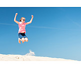 Child, Girl, Summer, Jump, Vitality