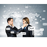 Communication, On The Phone, Email, Business Partnership