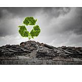Umweltzerstörung, Umweltschutz, Wiederverwertung, Recyclingsymbol