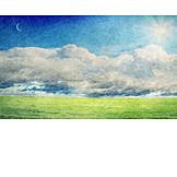 Landscape, Sun, Moon
