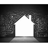 Entwicklung, Hausbau, Energiesparen, Mindmapping