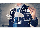 Connection, Data Storage, Internet, Cloud, Cloud Computing