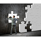 Businessman, Solution, Jigsaw Piece