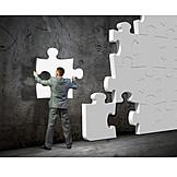 Geschäftsmann, Lösung, Puzzleteil