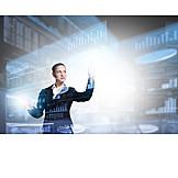 Geschäftsfrau, Bildschirm, Digital, Dateneingabe
