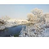 Winter Landscape, River, Snowy