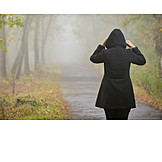 Woman, Autumn, Fog, Walk, Weather