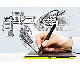 Architecture, Architect, Draft, Graphics Tablet, Sketch
