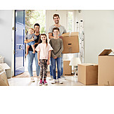 Family, Real Estate, Moving Box, New Home