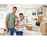 Happy, Family, Moving In, New Home