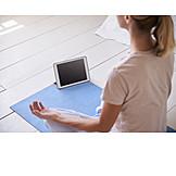 Meditating, Yoga, Online, Lotus Position, Tablet-pc