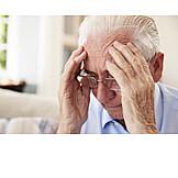 Senior, Headaches, Unhappy, Doubting