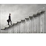 Businessman, Business, Growth, Winning, Upward, Diagram