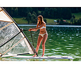 Young woman, Water sport, Windsurfing