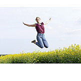 Frau, Lebensfreude, Luftsprung