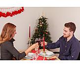 Christmas, Love Couple, Toast
