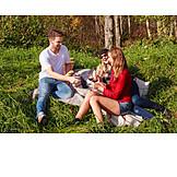 Glücklich, Familie, Picknick, Sommerlich