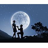 Love, Romantic, Love Couple, Full Moon, Marriage Proposal