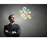 Geschäftsmann, Online, Wireless, Icon, Multimedia, Virtuell, Desktop