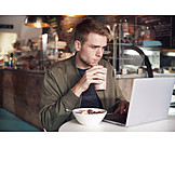 Man, Cafe, Breakfast, Laptop