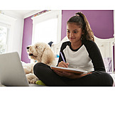 Teenager, Girl, Happy, Homework