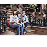 Kleinkind, Vater, Mutter, Glücklich, Urban