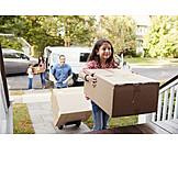 Familie, Einzug, Neues Zuhause, Umzugskartons