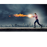 Man, Energy, Powerful, Determined, Fireball