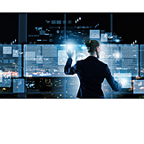 Business Woman, Touchscreen, Data, Interface, Multimedia, Data Analysis