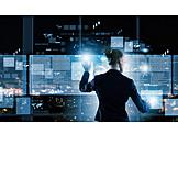 Geschäftsfrau, Touchscreen, Dateneingabe, Schnittstelle, Multimedia, Datenanalyse