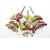 Spieß, Grillwurst, Bratwurst, Sortiment