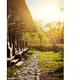 Nature, Sunlight, Idyllic Scene, Shore, Cottage