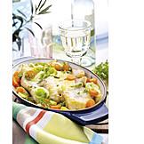 Fischgericht, Fischauflauf, Rotbarschfilet