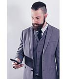Businessman, Message, Send