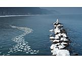 Winter, Baltic Sea, Ice Floes, Waterbreak