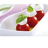 Mozzarella, Finger food, Cherry tomato