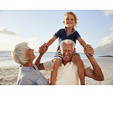 Grandson, Grandparent, Beach Holiday
