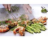 Gastronomie, Zubereitung, Garnele, Grill-platte