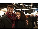 Embracing, Love Couple, Christmas Market
