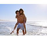 Beach, Bathing, Love Couple