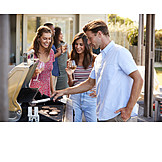 Broiling, Friends, Barbecue, Garden Party