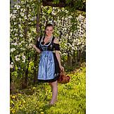 Young woman, Apple harvest, Dirndl