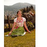 Young woman, Bavarian, Dirndl