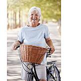 Senior, Laughing, Cycling, Active