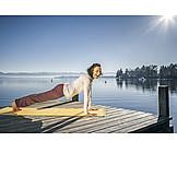 Woman, Laughing, Yoga